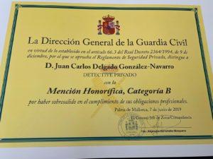 Reconocimiento Detectib- Mención honorífica detective Delgado